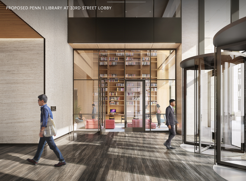 Proposed Penn 1 library at 33rd street lobby.