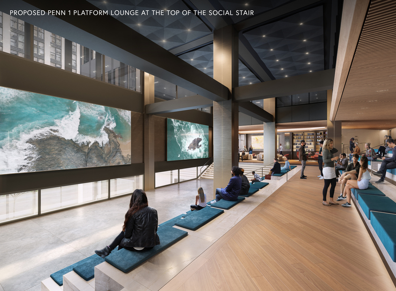 Proposed Penn 1 platform lounge at the top of the