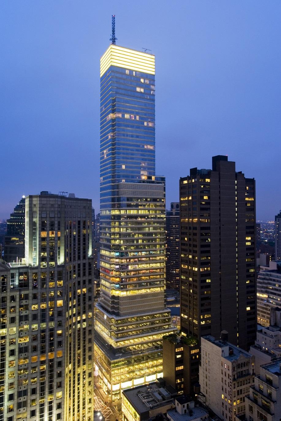 Night view of illuminated building