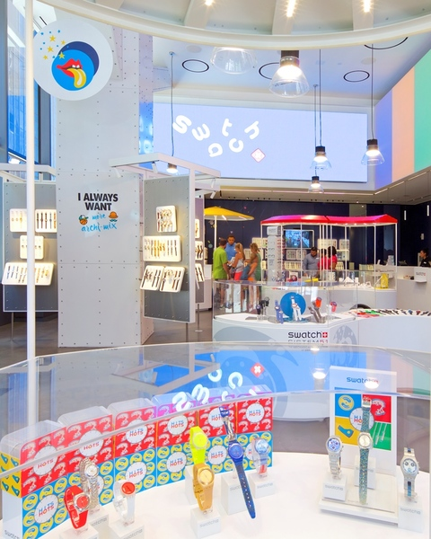 Interior view of Building's Swatch Store