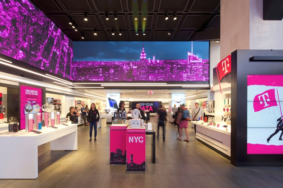 Interior view of Building's T- Mobile Store